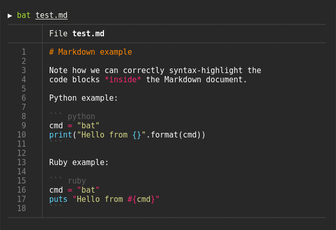bat command markdown example
